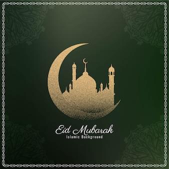 Elegante, eid, mubarak, islamic, desenho, fundo