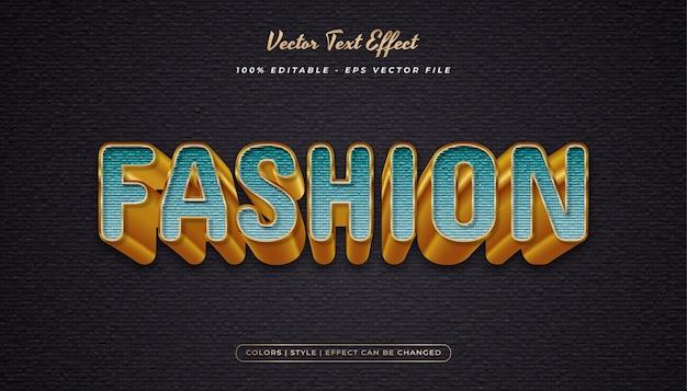 Elegante estilo de texto em negrito com efeito em relevo e texturizado no conceito ciano e dourado