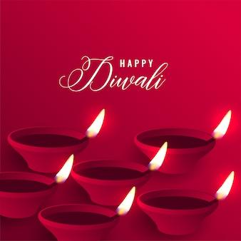 Elegante feliz diwali vermelho diya fundo