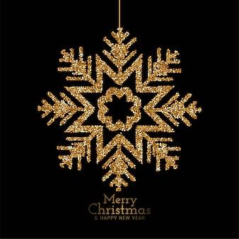 Elegante feliz natal glitter flocos de neve