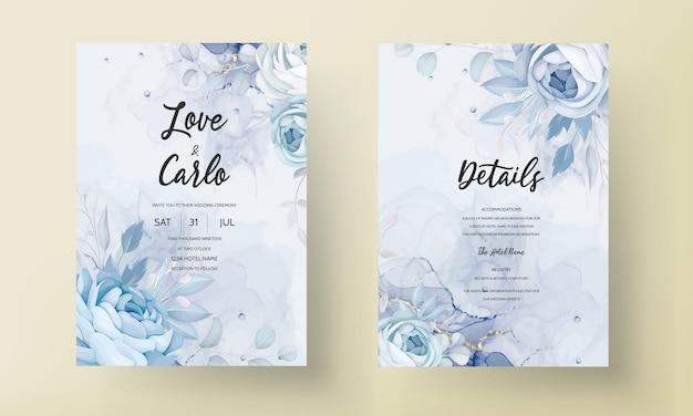 Elegante flor de peônia azul e folhas de design de cartão de convite de casamento