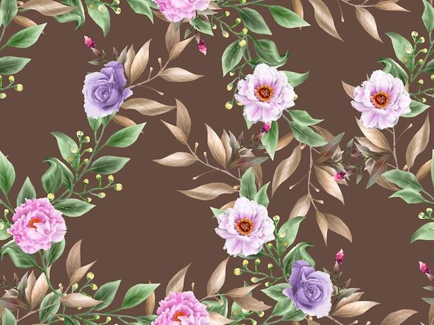 Elegante floral sem costura desenhado à mão