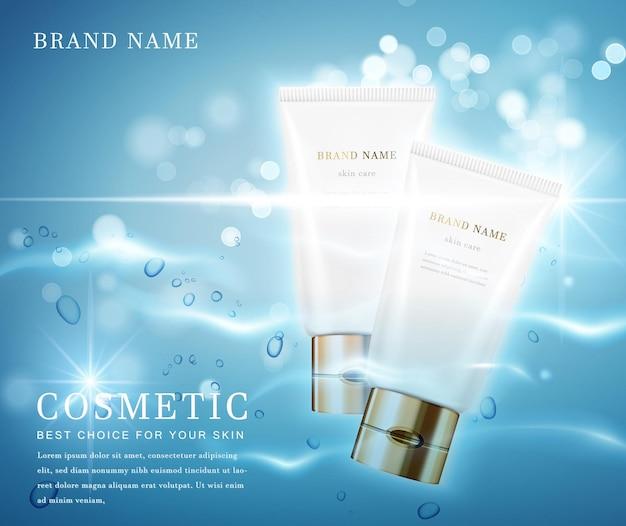 Elegante frasco cosmético com banner de modelo de fundo cintilante de água brilhante.