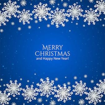 Elegante fundo azul de natal com flocos de neve