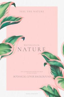 Elegante fundo botânico com folhas verdes e rosa