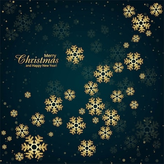 Elegante fundo de cartão de natal com flocos de neve