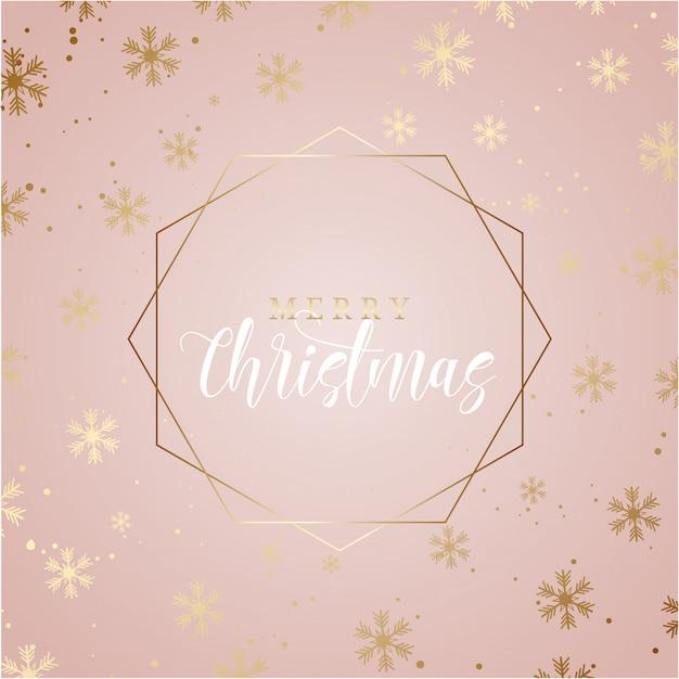 Elegante fundo de natal com flocos de neve de ouro