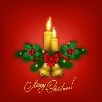 Elegante fundo de natal com velas e sinos