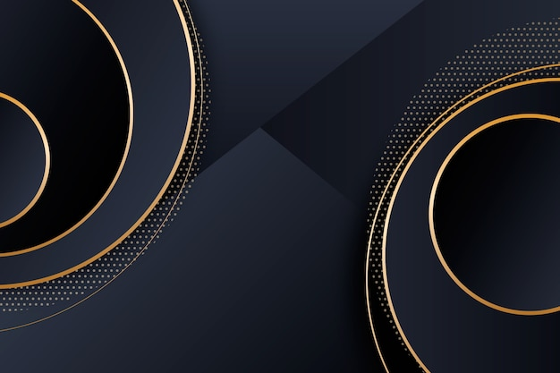 Elegante fundo escuro com círculos dourados
