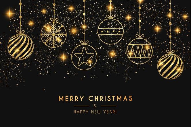 Elegante fundo feliz natal com bolas de ouro