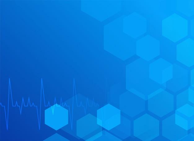 Elegante fundo médico azul com hexágono