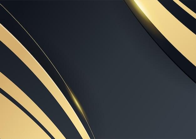 Elegante fundo ondulado em ouro preto com camada de sobreposição. terno para negócios, corporativo, instituição, festa, festa, seminário e palestras
