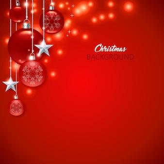 Elegante fundo vermelho de natal com bolas de natal, estrelas e faíscas.