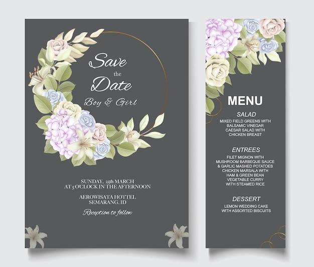 Elegante lindo floral e convite de casamento
