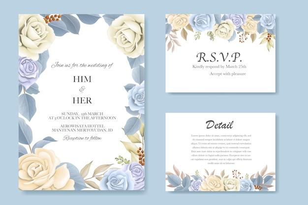 Elegante lindo floral macio e folhas convite de casamento