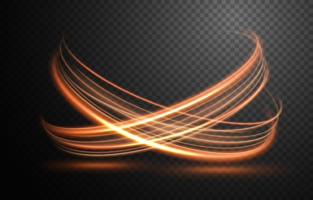 Elegante linha de luz dourada e ondulada com uma ilustração vetorial de padrão transparente