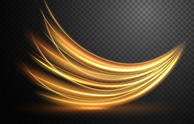 Elegante linha de luz ondulada dourada com um padrão transparente isolado e fácil de editar