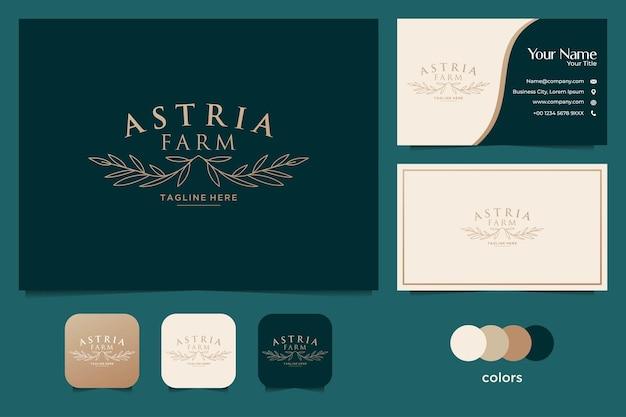Elegante logotipo de fazenda de casamento e cartão de visita
