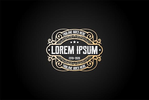 Elegante luxo retro vintage emblema emblema etiqueta logo design vector