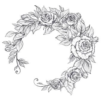 Elegante mão desenhada buquê gráfico com flores rosas e folhas.