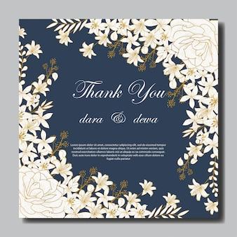 Elegante mão desenhada convite floral de casamento