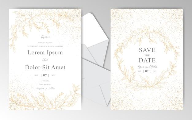 Elegante mão desenhada modelo de cartões de convite de casamento com folhas douradas lindas