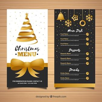 Elegante menu de Natal dourado