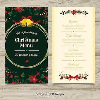 Elegante, menu natal, modelo, com, estilo vintage