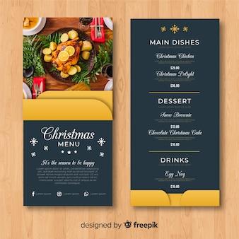 Elegante, menu natal, modelo, com, foto