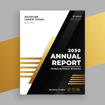 Elegante modelo de relatório anual de ouro e preto