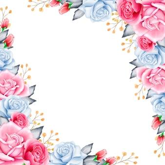 Elegante moldura floral com flores em aquarela