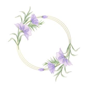 Elegante moldura floral em aquarela de dia dos namorados