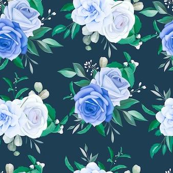 Elegante moldura floral sem costura padrão flor azul