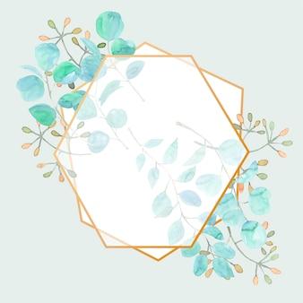 Elegante moldura poligonal em aquarela