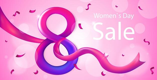 Elegante oito número feminino dia 8 de março feriado celebração banner flyer ou cartão com ilustração horizontal de fita