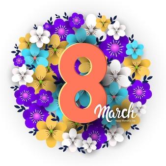 Elegante oito número feminino dia 8 de março feriado celebração banner panfleto ou cartão com ilustração de flores