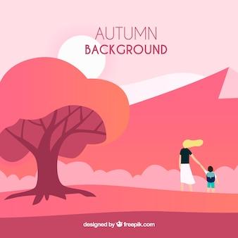 Elegante outono fundo com design plano