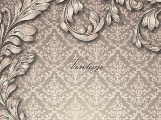 Elegante padrão antigo, com folhas