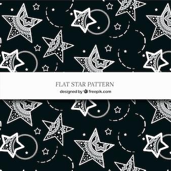 Elegante padrão de estrelas em preto e branco