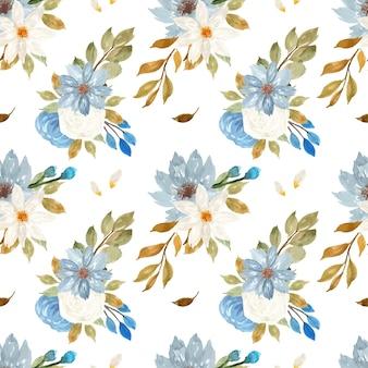 Elegante padrão floral azul e branco sem costura