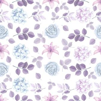 Elegante padrão floral de inverno sem costura