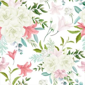 Elegante padrão floral sem costura com bela mão desenhando flores e folhas