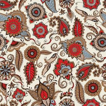 Elegante padrão sem costura estampado com motivos coloridos de buta indiana