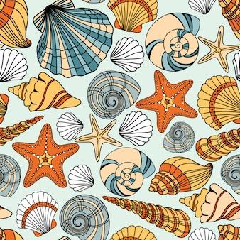 Elegante padrão sem emenda com conchas do mar,