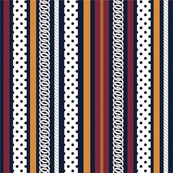 Elegante padrão sem emenda com correntes de prata, bolinhas com listrado vertical colorido