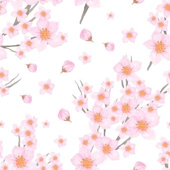 Elegante padrão sem emenda com flor de cerejeira japonesa