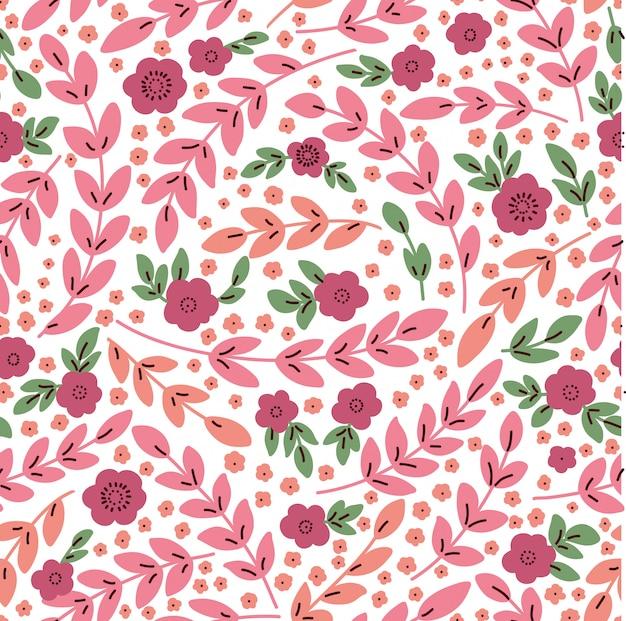 Elegante padrão sem emenda com flores cor de rosa, ilustração vetorial