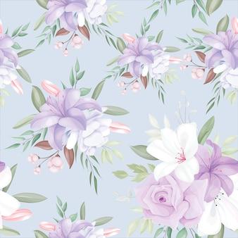 Elegante padrão sem emenda com lindas flores e folhas brancas e roxas Vetor Premium