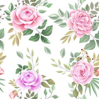 Elegante padrão sem emenda com lindas flores e folhas