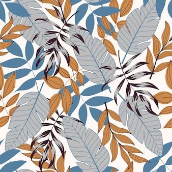 Elegante padrão sem emenda com plantas tropicais